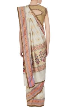 Gold handwoven jacquard sari with unstitched blouse