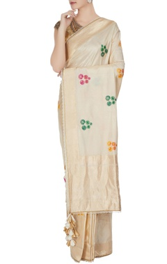 Ivory handwoven jacquard sari with floral motifs & tassels & unstitched blouse
