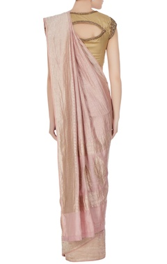 Ash pink georgette brocade sari with unstitched blouse