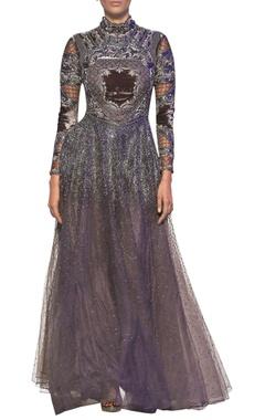 Mouse grey tulle net velvet hand cut applique gown