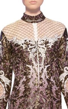 Off white & mauve tulle net satin applique work short dress