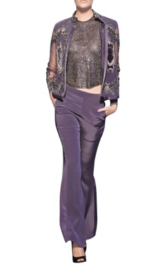 Metallic grey tulle & silk crepe french knot & beaded open jacket with blouse & trousers