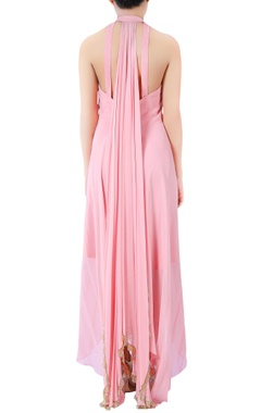 Pink bugle bead embellished draped gown