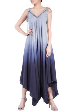 Grey ombre crepe silk dhoti jumpsuit