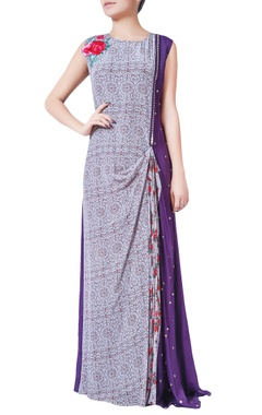 Purple printed & solid pattern pre-draped dress