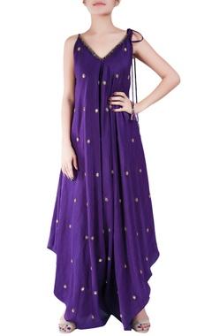 Amethyst purple crepe silk dhoti style bugle bead jumpsuit