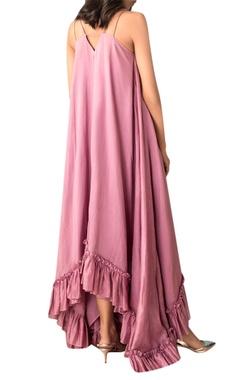 Lilac hand woven chanderi frilly asymmetric dress