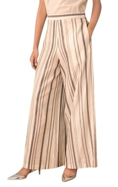 Ivory hand-woven chanderi wide-leg pants
