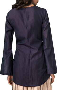 Navy blue tie-up blouse