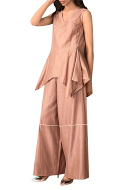 Kanelle Taupe hand woven cotton silk wide legged pants