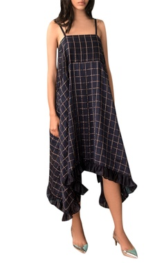 Kanelle Navy blue zari checkered slip dress