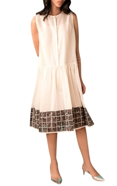 Kanelle Ivory handwoven chanderi gathered dress