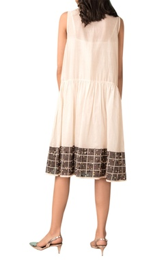 Ivory handwoven chanderi gathered dress