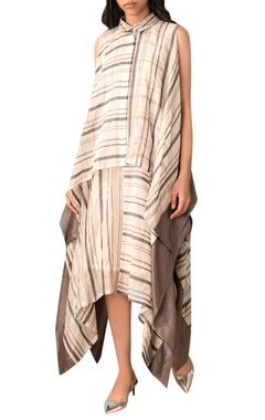 Kanelle Ivory check asymmetric dress