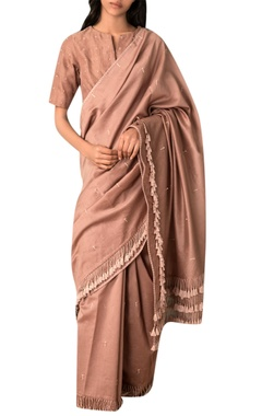 Kanelle Taupe hand woven zari embroidered chanderi saree blouse