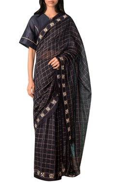 Kanelle Navy blue zari checkered saree