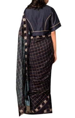 Navy blue zari checkered saree