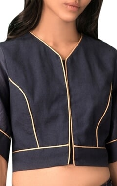 Navy blue slub cotton gold detail blouse
