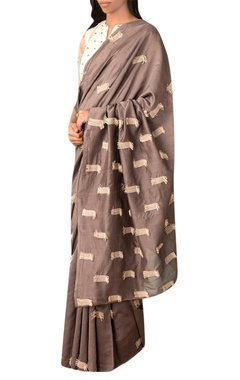 Kanelle Grey handwoven thread texture chanderi saree