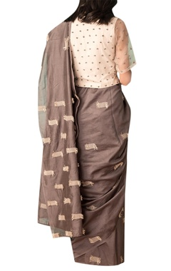 Grey handwoven thread texture chanderi saree