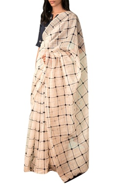 Ivory handwoven chanderi zari sari