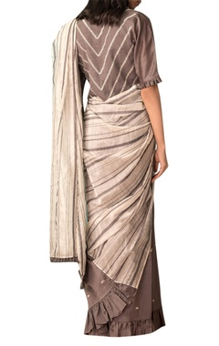 Ivory & grey handwoven chanderi saree