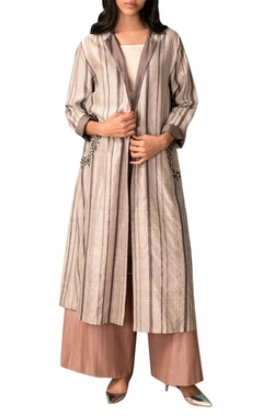 Kanelle Ivory & grey striped handwoven chanderi trench coat