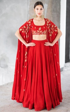 Red satin cotton sequin & zari work lehenga with blouse & cape
