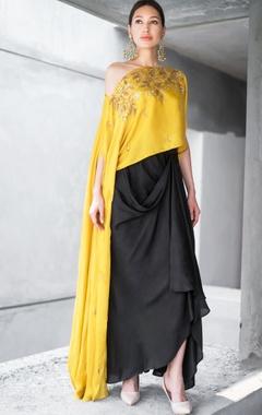 Mustard & black net & cotton satin sequin & zari work cape with draped skirt
