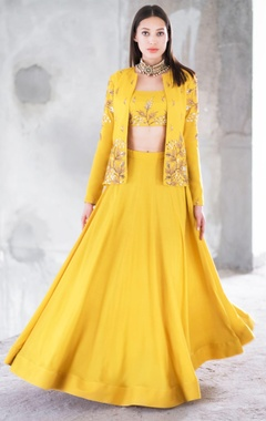 Prathyusha Garimella Mustard satin cotton sequin & zari work lehenga with crop top & jacket