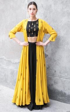 Prathyusha Garimella Black & mustard satin cotton sequin & zari work cape with crop top & skirt