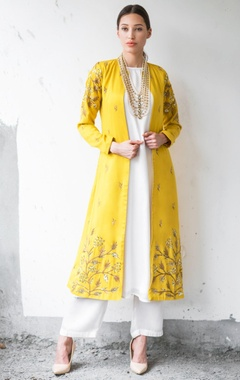 Mustard & white satin cotton sequin & zari work ankle-length jacket with kurta & palazzo