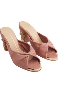 Nidhi Bhandari Blush pink suede & genuine leather sole hand embroidered block heels