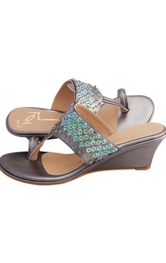 Silver genuine leather sole hand embroidered wedges