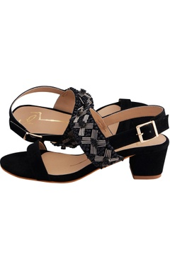Black suede & genuine leather sole hand embroidered block heels