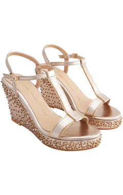 Nidhi Bhandari Rose gold genuine leather sole hand embroidered wedges