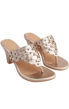 Nidhi Bhandari Rose gold genuine leather sole hand embroidered & 3D petal embellishment block heels