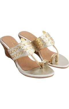 Nidhi Bhandari Gold genuine leather sole hand embroidered wedges