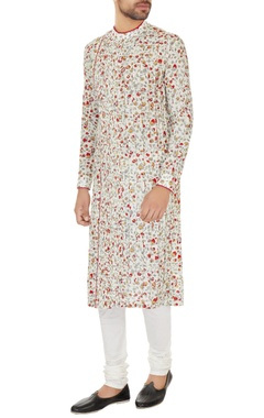 Dev R Nil - Men Off white cotton silk embroidered kurta with cotton lycra churidar