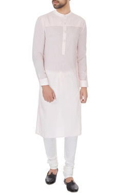 Dev R Nil - Men Light pink cotton solid kurta with cotton lycra churidar
