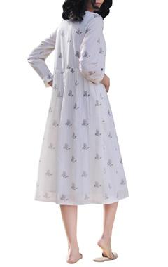 Ivory & white cotton handblock printed dress