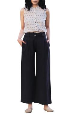 Black handloom khadi high-waist pants