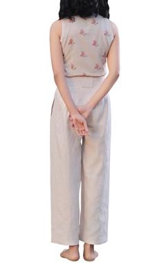 Beige linen high waisted wide-legged pants