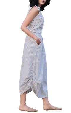 Ivory cotton sleeveless floral handblock printed shirt