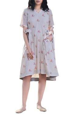Seashell white handblock printed floral midi dress