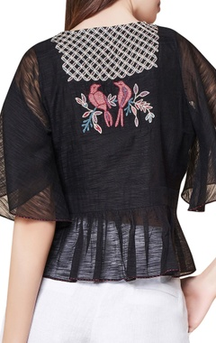 Black cotton & silk hand embroidered bell sleeves blouse