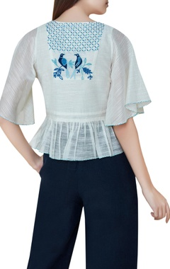 Off white cotton & silk hand embroidered bell sleeves blouse