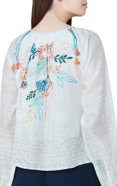 Off white cotton & silk hand embroidered bishop sleeves blouse