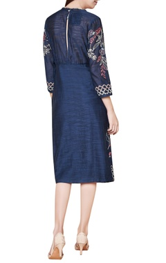 Blue cotton & silk hand embroidered fitted midi dress