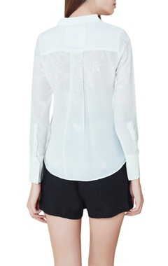 Off white silk hand embroidered shirt